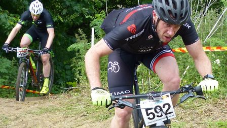 Stephen James on his way to winning the Vets 40-49 race at Carver Barracks