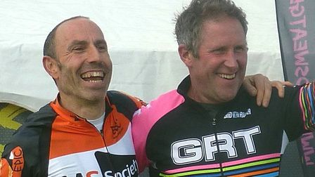 On the Vets 50+ podium - Winner Jimmy Piper (left) and Mark Wingar (Gipping RT)