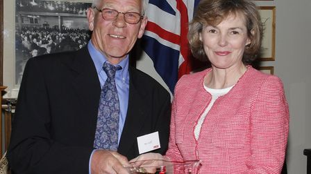 R G Carter retiree Ian Goff with Mrs Charlotte Carter