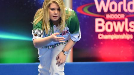 Katherine Rednall, pictured playing indoors, is in contention for a Commonwealth Games spot, playing