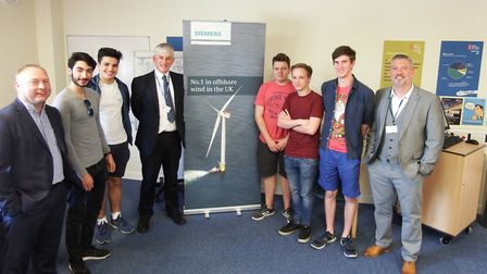 West Suffolk College engineering students met with bosses from the renewables sector, including, lef