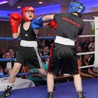 Bailey Petrie, left, takes on Luke See at the Eastgate Boxing Club night. Picture: PAUL TEBBUTT
