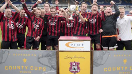 Achilles celebrate lifting the 2017 Suffolk Senior Cup. Matty Ryland is on the far left.