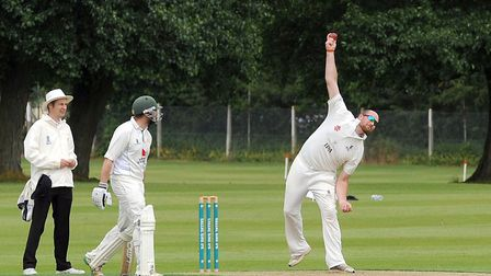 Sudbury bowler Tom Huggins, who recorded excellent figures of 10-4-15-1 in the Suffolk's side victor