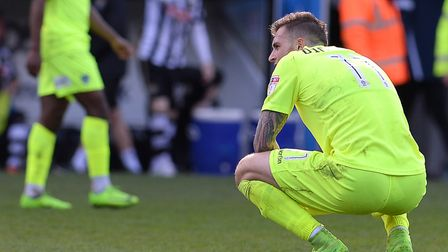 Brennan Dickenson is disappointed at the final whistle following the 3-1 defeat at Notts County on A