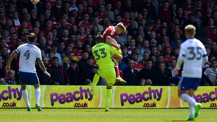 Bartosz Bialkowski concedes the first half penalty at Nottingham Forest