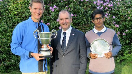 James Holland (left) with the Eastern Counties Cup, Woodbridge club captain Malcolm Crissell and Hab