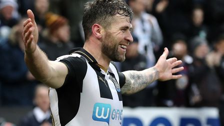 Daryl Murphy celebrates one of his six goals for Newcastle United. Photo: PA