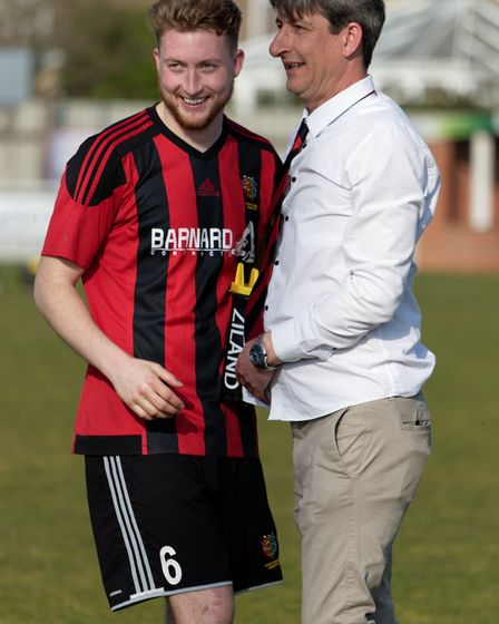 Brightlingsea Regent chairman Terry Doherty (right) with captain Matt Cripps, after the Ryman North