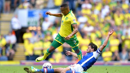 Blackburn Rovers skipper Jason Lowe makes a typically robust challenge on Norwich Marcus Olsson. Pho