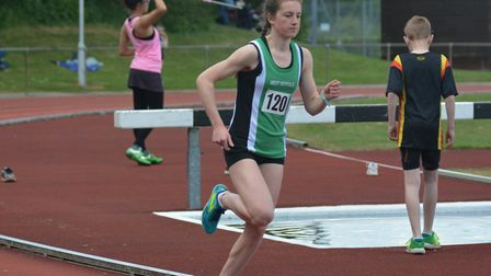 Megan Newton, of West Suffolk AC, on her to a gold meal in the 3,000m at the Suffolk Championships.