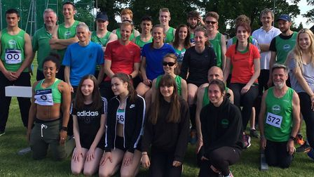 Colchester Harriers' squad which competed in the Southern Athletics League meeting at Harrow