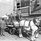 Carts loaded up with beer ready for delivery to six pubs around Southwold in 1970