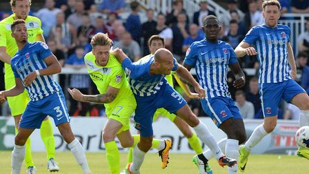 Denny Johnstone's second-half header bounces over the bar at Hartlepool on the opening day of last s