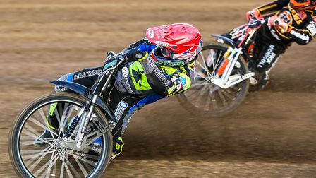 Danny King leading Sam Masters during heat one of the Ipswich v Berwick last week. Fans, and King, e