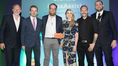 The UK Biddable Media Awards 2017. From left, ceremony presenter Simon Evans, along with members of