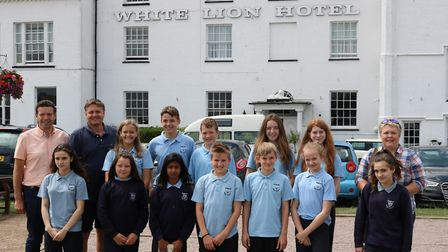 Pupils from Kesgrave High School year eight visit the White Lion Hotel, Aldeburgh. Back row left