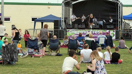 The StowFiesta music festival in full swing at Chilton Fields in Stowmarket. Mementos on the stage.