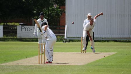 Michael Comber bowling for Suffolk against Berkshire in the Unicorns Trophy on Sunday. Photograph: N