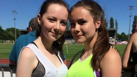 The Colchester Harriers duo of Megan Stevens and Katie Rice, who competed over 100m and the 80m hurd