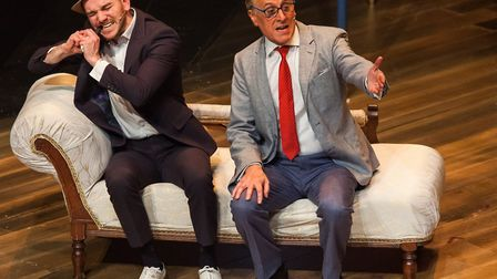 Martin Leigh and Tom Mayhew as the rival conment in Dirty Rotten Scoundrels, Picture: GAVIN KING PH