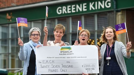 The presentation of the �27,000 raised by staff at Greene King in Bury St Edmunds for East Anglia's