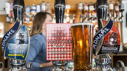 A pump clip for Great Get Together Pale Ale, between Adnams' own Ghost Ship and Broadside beers. Pi