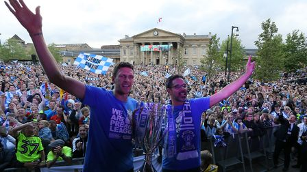Huddersfield Town manager David Wagner (right) celebrates the Yorkshire club's promotion to the Prem