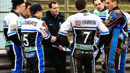 Ipswich Witches director of speedway Chris Louis calls his riders together for a team talk. Louis ha