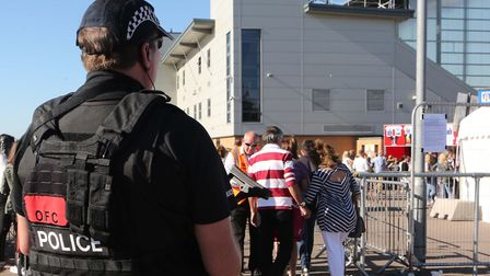 Heavy security at the Olly Murs concert in Colchester. Picture: SEANA HUGHES.