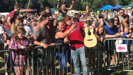 Jack Shepherd mingles with the crowd during his The Ed Sheeran Experience set at The Nearly Festival