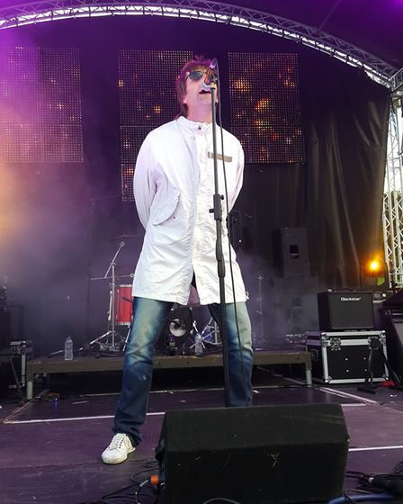 Definitely Might Be as Oasis, performing at The Nearly Festival in Bury St Edmunds and Ipswich. Phot