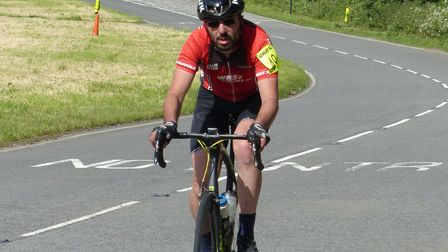 Malcolm Borg (West Suffolk Wheelers) on his way to 2i6 miles in the Newbury RC 12 Hour