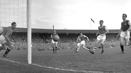 Action from the crucial, championship-deciding game against Aston Villa at Portman Road in May 1962.