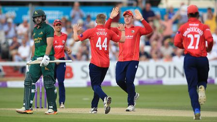Essex players celebrate after taking the wicket of Nottinghamshire's Michael Lumb