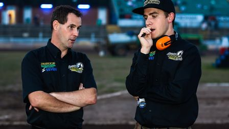Witches Director of Speedway Chris Louis (left) and team manager Ritchie Hawkins.