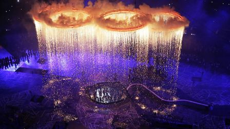 The Olympic rings light up the stadium during the Opening Ceremony at the 2012 Summer Olympics. The