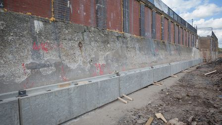 The new sea defence construction work in Whitley Bay, featuring precast concrete panels made by Poun