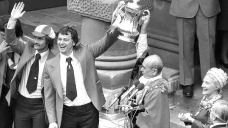 Homecoming at Ipswich Town Hall as Bobby Robson lifts the cup for fans to see