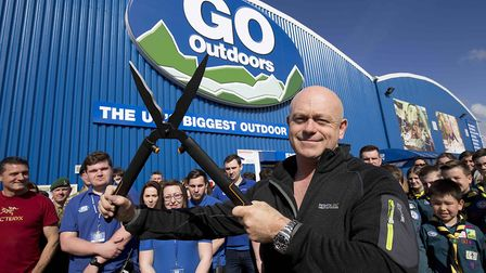Ross Kemp cuts the ribbon signalling the official opening of a Go Outdoors superstore in Liverpool.