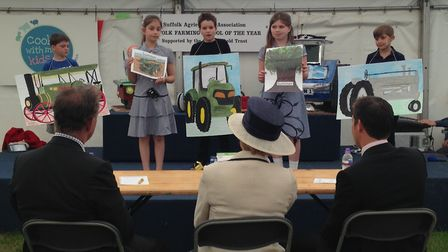 Bawdsey Primary School pupils performing in the Farming School of the Year competition. Picture: ELL