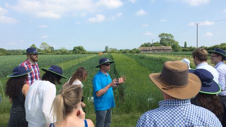 Early-career researchers, agronomists and farmers have visited Bayer's Chishill Research Farm as par
