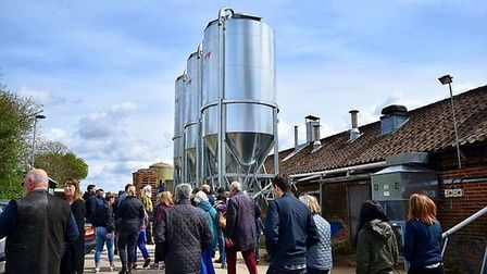 Visitors on a tour of St Peter's Brewery, at St Peter South Elmham, near Bungay.
