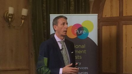 Andy Wood, chief executive of Adnams, speakiing at Pure's Women's Leadership Alumni event in Newmark