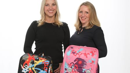 Kellie Forbes and Gill Hayward with some of their YUUbag designs.