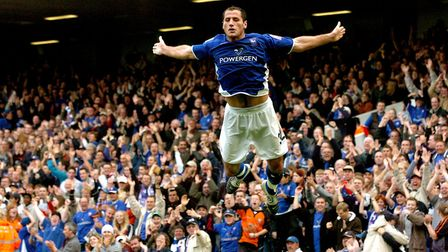 Kuqi was famous for his 'swan dive' celebration at Ipswich Photo: Andy Abbott