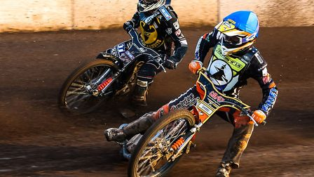 Connor Mountain, right, seen riding for the Ipswich Witches, will lead the Mildenhall Fen Tigers thi