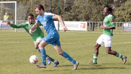 Joe Francis in flying action for Leiston last season. Glenn Driver admits he would have like to have