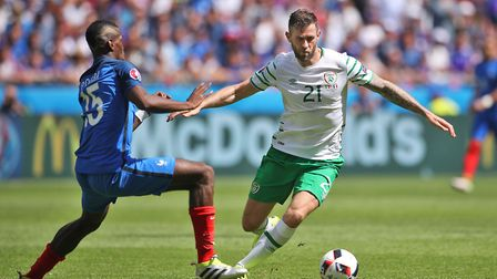 Former Ipswich Town striker Daryl Murphy, right, played 64 minutes in the defeat to Mexico