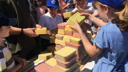 Pupils from Great Whelnetham team together to build the winning jelly. Picture: GEMMA MITCHELL